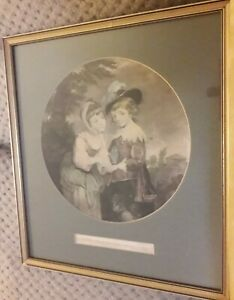 "VINTAGE FRAMED PRINT LITHOGRAPH ""THE FORTUNE TELLER"" child ?Regency c1800s 1900s"