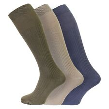 Mens 3 Pairs Extra Long 100% Soft Cotton Knee High Socks UK Size 6-11 EU 39-45