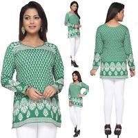 UK STOCK - Women Fashion Green Short Kurti Kurta Tunic Top Shirt Dress 142D