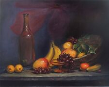 VINTAGE ORIGINAL FRUIT AND BASKET REALISM OIL PAINTING STILL LIFE 18 X 24