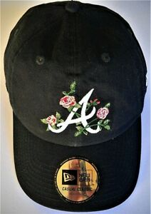 ATLANTA BRAVES LADIES LOW-PROFILE ADJUSTABLE CAP HAT W/ ROSES MIXED WITH LOGO A