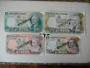 Set of 4 Northern Ireland; First Trust Bank. specimens £10-£100 all UNC
