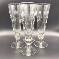 Vintage Etched Pilsner Glasses Set Of 4 Elegant Thistle Floral Pattern