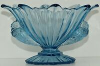 RARE VINTAGE ART DECO BLUE GLASS BOWL  BY STS ABEL YUGOSLAVIA WITH BIRD HANDLES