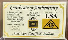 GOLD 1GRAIN 24K SOLID BULLION MINTED PURE BAR 99.99 FINE CERT 0F AUTHENTICITY