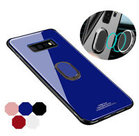 For Samsung S10 S9 Tempered Glass Back Cover 360° Magnetic Car Phone Holder Case