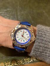 Gran reloj pulsera de Time Force, noble azul pulsera de cuero, 100m, señora & Caballero