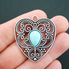 1 Heart Charm Antique Silver Tone With Faux Turquoise Stone - SC4909