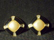 Vintage Classic Gold Tn Black Enamel Faux Pearl Clear Rhinestone Clip Earrings