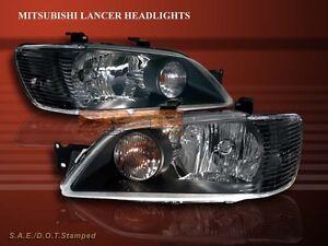 2002-2003 MITSUBISHI LANCER JDM BLACK HEADLIGHTS LAMPS LH+RH HEAD LAMPS