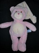 doudou peluche ours rose avec bonnet GIPSY 30cm (3 dispo)