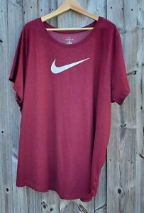 Nike Dry Standard Fit Plus Size 3X Sportswear Logo Tee Shirt Burgundy/ White