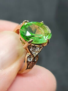 gorgeous 18ct yellow gold filled antique style peridot gemstone ring size 8 us