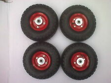 "4 x 10"" pneumatic wheels 16mm CENTRE hub for trolley barrow cart medium duty"