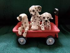 Dalmatian, puppies in wagon, dog figurine resin
