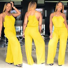 Fashion Women Spaghetti Strap Casual Loose Clubwear Drawstring Jumpsuit Rompers
