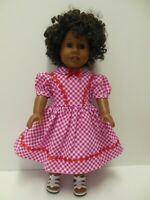 """American Girl 18"""" Doll Dress-Pink & White Gingham with Red Ribbon Bow-Kayesew"""