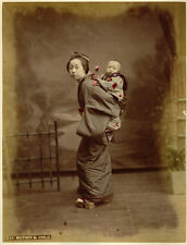 Photo Albuminé Japon Japan Japanese Mother and Child Vers 1880
