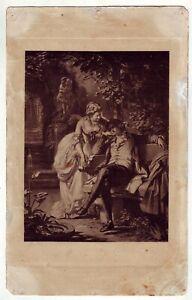 ca1890 sleeping Schiller in Garden vintage Litho Print Medieval Europe
