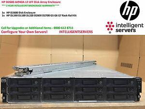 "HP Storageworks D2600 Disk Array 12x 3.5"" Drive Bays ** AJ940A ** With Rail Kit"