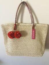 NWT Merona paper faux leather tote bag purse beach cream orange pompoms large