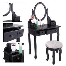 Wood Vanity Makeup Table Set Dressing Jewelry Desk w/ 5 Drawer Oval Mirror Black