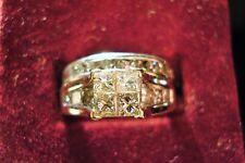 LADIES 2 CARAT 14K WG PRINCESS CUT 2 RING DIAMOND WEDDING SET SZ 7 #2CWGS
