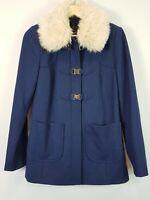 [ PORTMANS ] Womens wool blend Coat Jacket w/ Faux Fur collar | Size AU 8