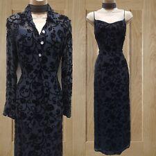 Karen Millen Black Vintage Jacquard Devore Floral Evening Maxi Dress & Shirt 10
