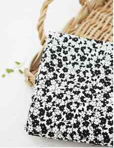 100% cotton black flower fabric from korea