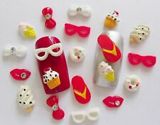 20pcs x Red White Holiday Flipflop,Glasses,Ice-Cream Rhinestone Bows 3D Nail Art