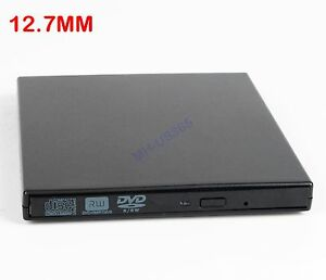 USB Slim External Case Enclosure For 12.7mm SATA CD DVD RW Burner Optical Drive