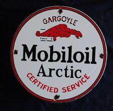 VINTAGE MOBILOIL ARCTIC GARGOYLE GASOLINE / MOTOR OIL PORCELAIN GAS PUMP SIGN
