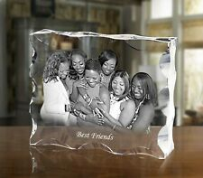 Personalised Glass Photo Block Laser Engraved Wavy Edge Crystal With Gift Box
