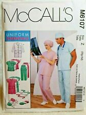 Sewing Pattern Plus Size Unisex Scrubs Top Pants Cap Sz Z Xl Xxl McCalls 6107