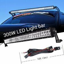 40Inch 300W Curved Flood Spot LED Work light Bar with 3M Wiring Harness Offroad