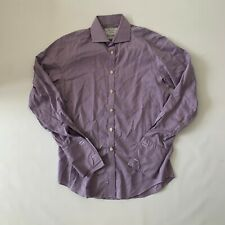 Charles Tyrwhitt Mens Purple Houndstooth French Cuff Shirt, Size 39/89cm, Slim