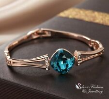 18K Rose Gold Filled Made With Swarovski Crystal Cushion Cut Deep Teal Bracelet