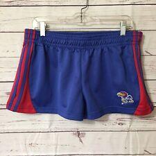 "Colosseum Kansas Jayhawks Women's Blue Sz Large Shorts Red Stripe 34"" elastic"