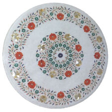 """24"""" Marble Center Table Top Inlay Floral Art Home Decor Handmade Work"""