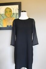 NWT Madewell Sheer Sleeve Dress in BLACK Sz Extra Small XS B5770 $158 Sold Out!