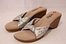 Golc Womens Sandals Silver Wedge Leather Sequin Embellished Slip on Size 40 9.5
