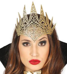 Evil Fairytale Queen Crown Halloween Fancy Dress Gold Glitter Wicked Witch Spike