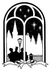 Unmounted rubber stamp Arch Window Carolers