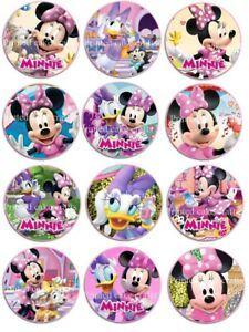 12 x 5cm Edible Minnie Mouse & Friends *PRECUT* Icing Cupcake Toppers