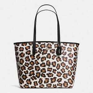 Coach Ocelot Print City Tote Chalk Multi Handbag 35874