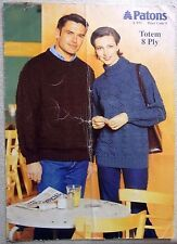 Patons knitting LEAFLET no. L572 MAN'S AND LADIES JUMPERS TOTEM 8 PLY