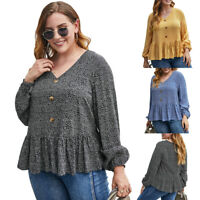 Women Plus Size Boho Floral V Neck Blouse Shirt Ruffle Long Sleeve Tunic Tops