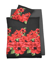 Schlafgut Mako Jersey Bettwäsche 4 tlg 135x200 schwarz rot Mohn Mohnblumen RV 1b