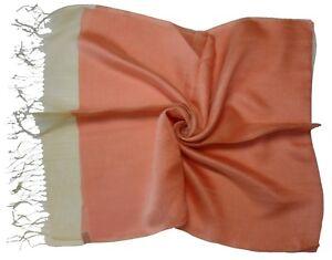 Coral Natural Edge Double Layer Silk Viscose Mix Long Scarf - New (K40)